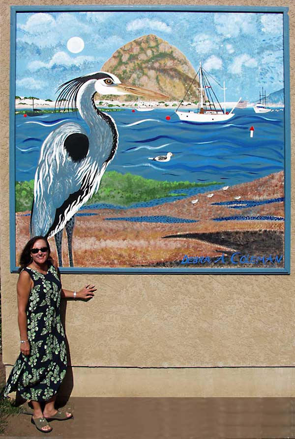Debra Coleman mini mural big size - Moon, Sky, Boats, Water.